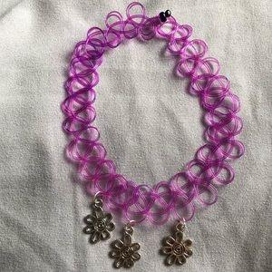 Purple triple daisy tattoo choker necklace